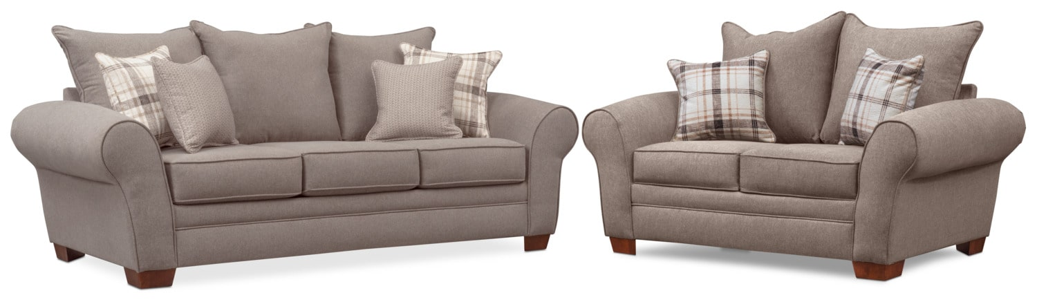 Delicieux Living Room Furniture   Rowan Sofa And Loveseat Set   Gray