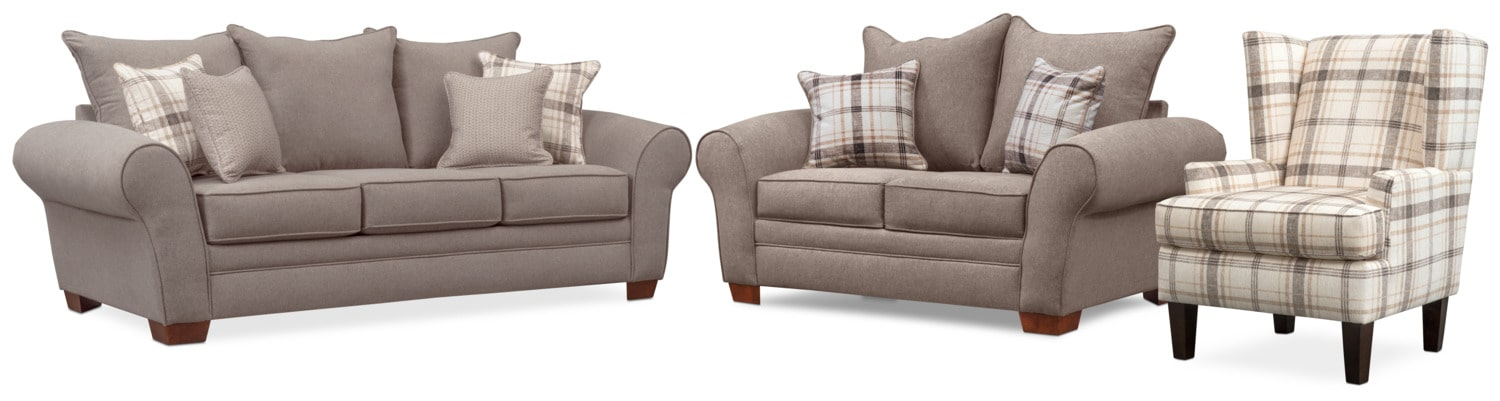 Living Room Furniture - Rowan Sofa, Loveseat and Accent Chair Set - Gray