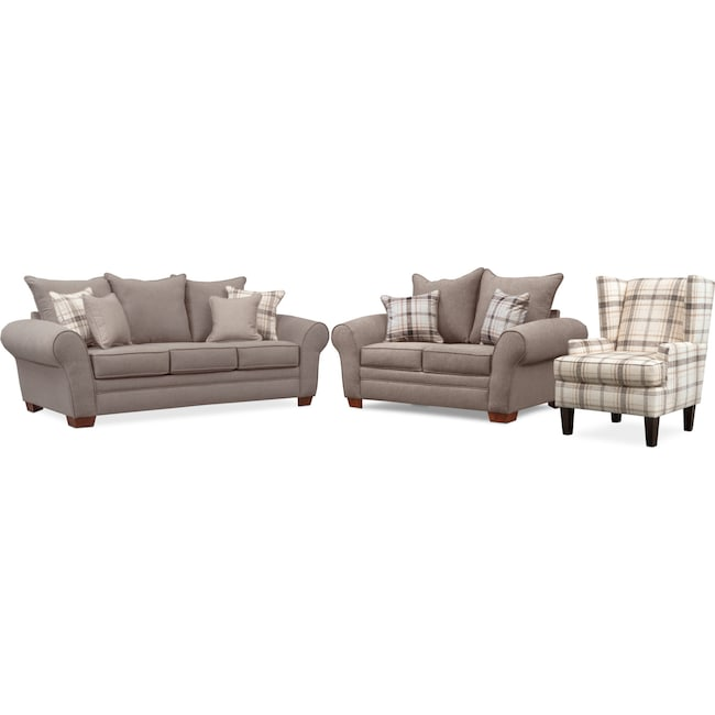 Living Room Furniture Rowan Sofa Loveseat And Accent Chair Set Gray