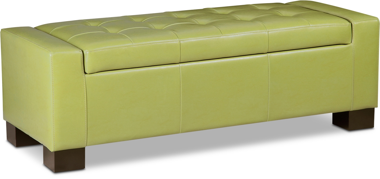 Living Room Furniture   Jive Storage Ottoman   Green