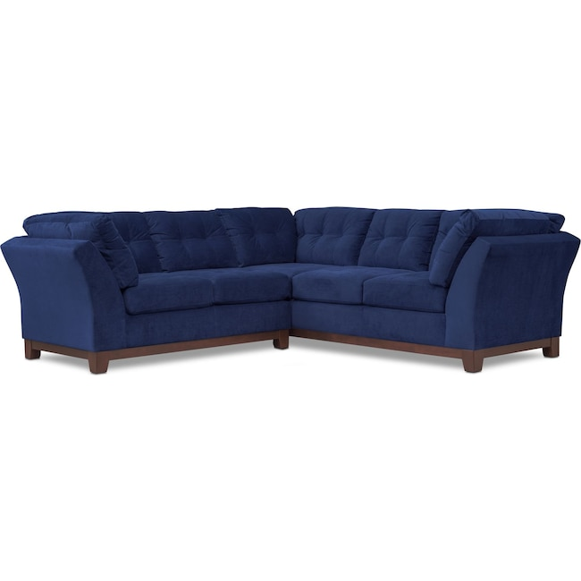 Living Room Furniture - Sebring 2-Piece Sectional with Left-Facing Loveseat - Indigo
