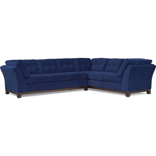 Living Room Furniture - Sebring 2-Piece Sectional with Left-Facing Sofa - Indigo