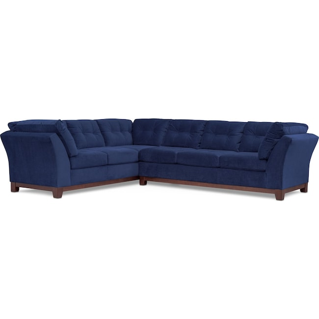 Living Room Furniture - Sebring 2-Piece Sectional with Right-Facing Sofa - Indigo