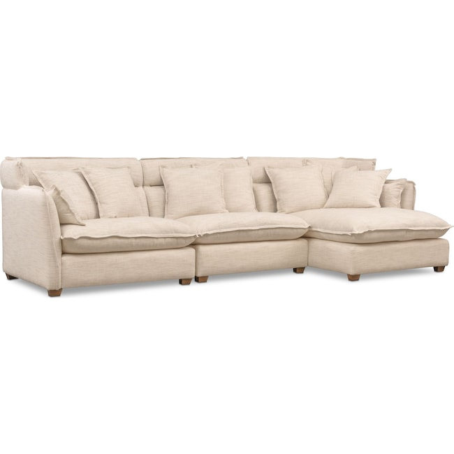 Living Room Furniture - Willow 3-Piece Sectional with Right-Facing Chaise - Beige