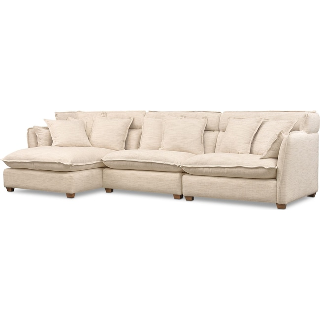 Living Room Furniture - Willow 3-Piece Sectional with Left-Facing Chaise - Beige