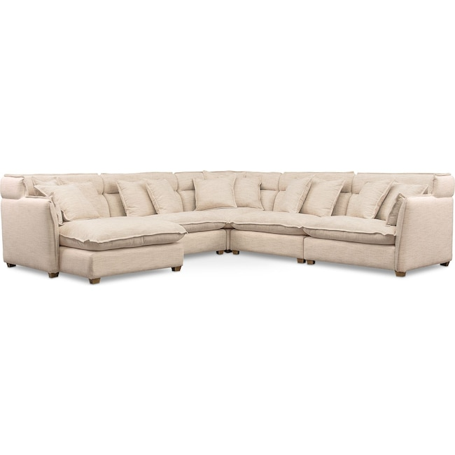 Living Room Furniture - Willow 5-Piece Sectional with Left-Facing Chaise - Beige