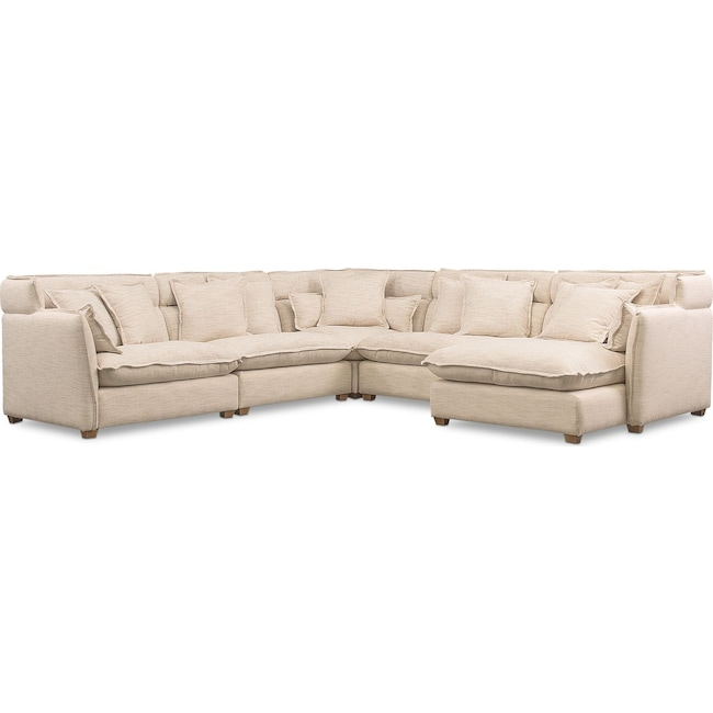 Living Room Furniture - Willow 5-Piece Sectional with Right-Facing Chaise - Beige