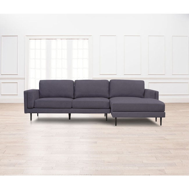 Living Room Furniture - West End 2-Piece Sectional with Right-Facing Chaise - Gray