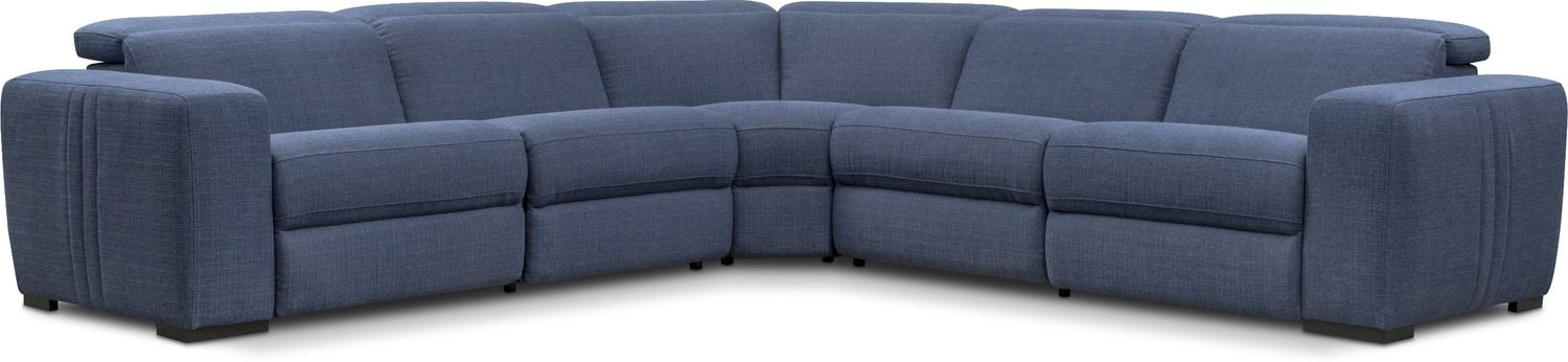Living Room Furniture - Tino 5-Piece Dual-Power Reclining Sectional