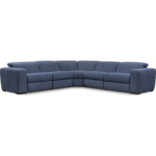 Living Room Furniture - Tino 5-Piece Dual Power Reclining Sectional - Navy