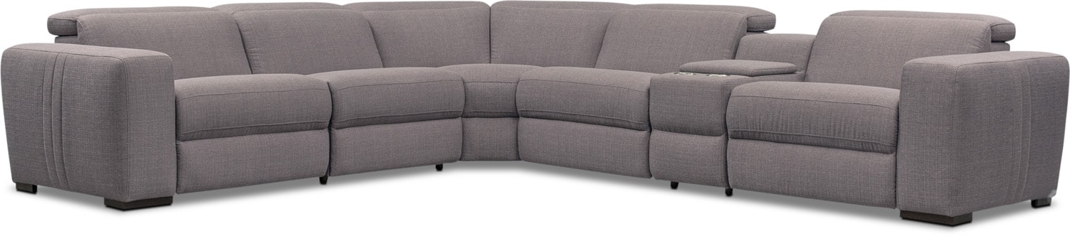 Living Room Furniture - Tino 6-Piece Dual Power Reclining Sectional