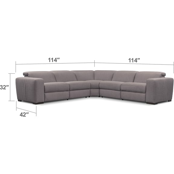 Living Room Furniture - Tino 5-Piece Dual Power Reclining Sectional