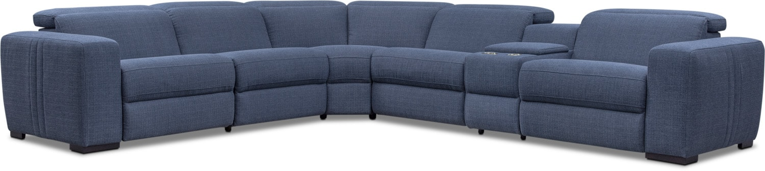 Living Room Furniture - Tino 6-Piece Dual-Power Reclining Sectional