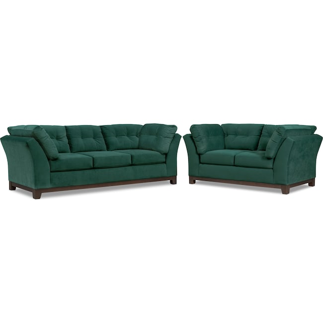 Living Room Furniture - Sebring Sofa and Loveseat Set - Emerald