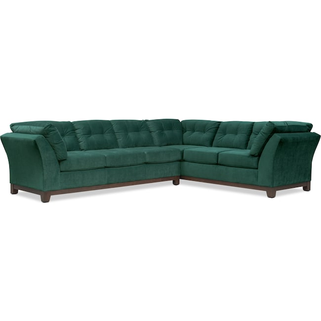 Living Room Furniture - Sebring 2-Piece Sectional with Left-Facing Sofa - Emerald