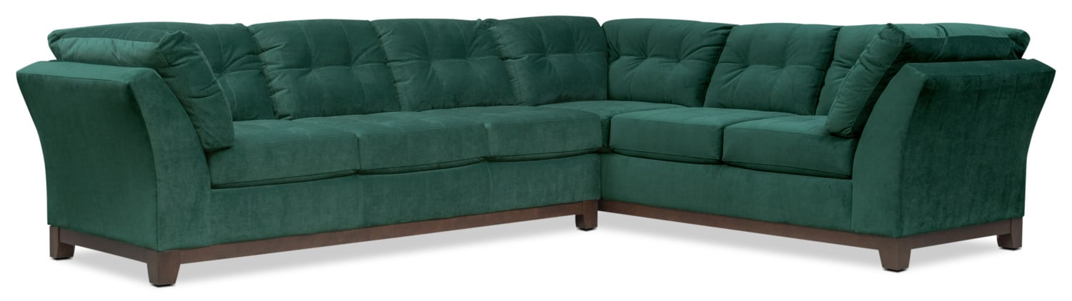 Living Room Furniture   Sebring 2 Piece Sectional With Left Facing Sofa    Emerald