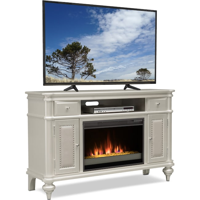 "Entertainment Furniture - Esquire 55"" Contemporary Fireplace TV Stand - Platinum"