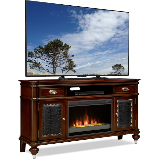 "Entertainment Furniture - Esquire 64"" Contemporary Fireplace TV Stand - Merlot"