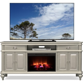 """Esquire 76"""" Traditional Fireplace TV Stand - Platinum"""