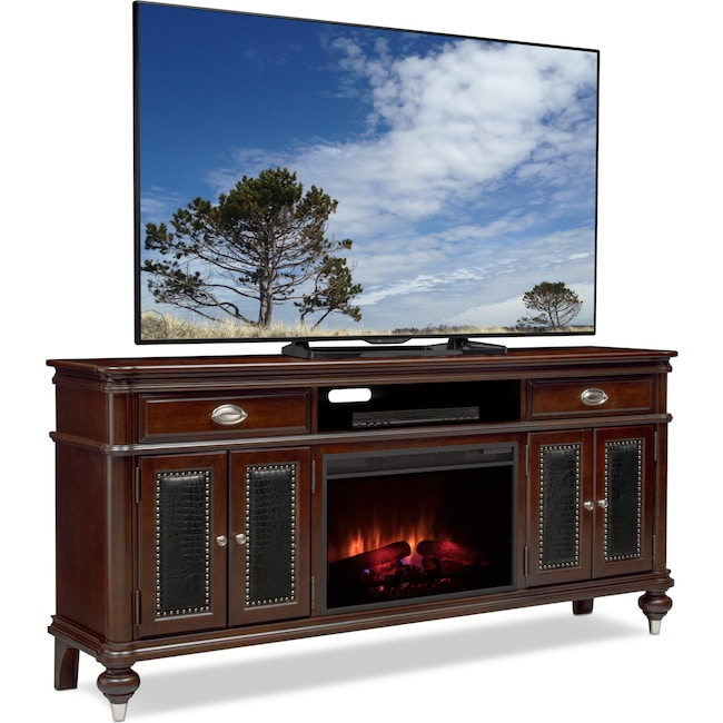 """Entertainment Furniture - Esquire 76"""" Traditional Fireplace TV Stand - Merlot"""