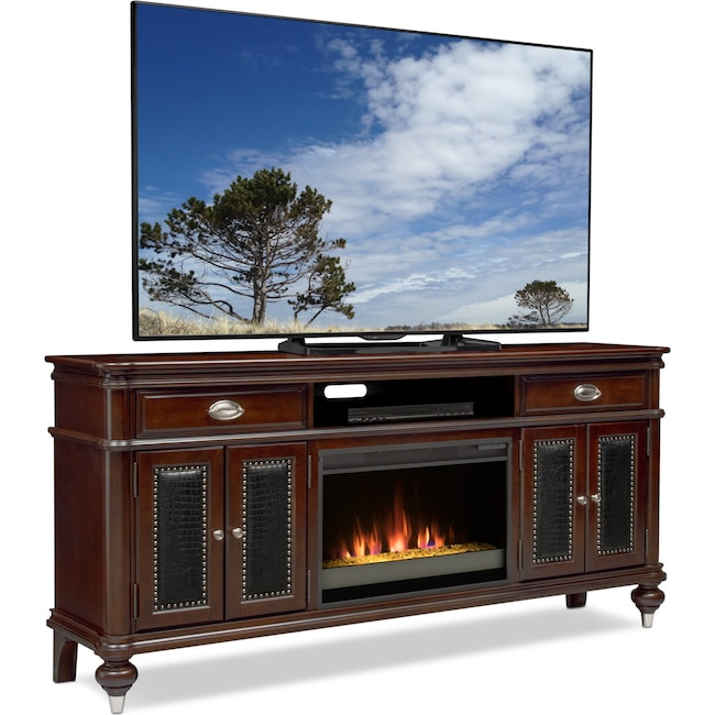 Entertainment Furniture Esquire 76 Contemporary Fireplace Tv Stand Merlot