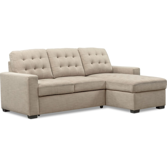 Living Room Furniture - Chatman 2-Piece Sleeper Sectional with Right-Facing Chaise - Beige
