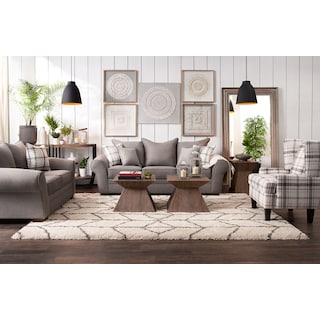 Rowan Sofa, Loveseat and Accent Chair Set - Gray