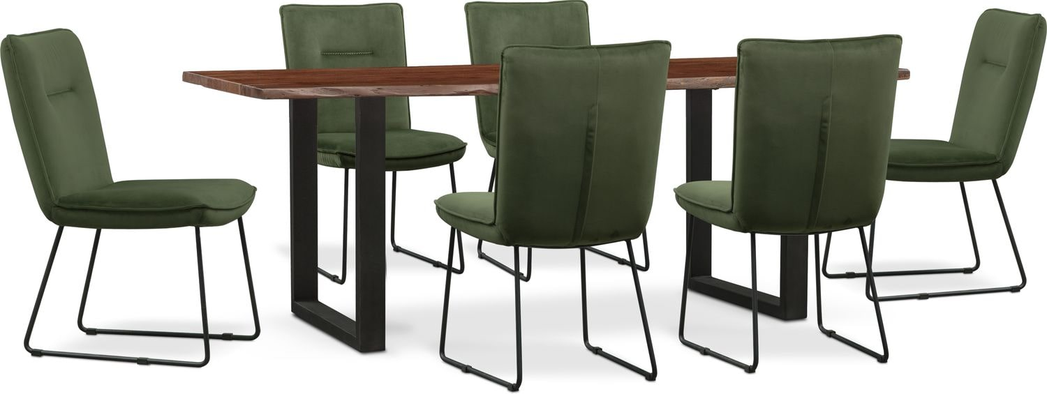 Dining Room Furniture - Portland Dining Table and 6 Upholstered Side Chairs