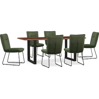 Portland Dining Table and 6 Upholstered Side Chairs