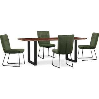 Portland Dining Table and 4 Upholstered Side Chairs