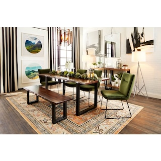 Portland Dining Table, 4 Upholstered Side Chairs and Bench