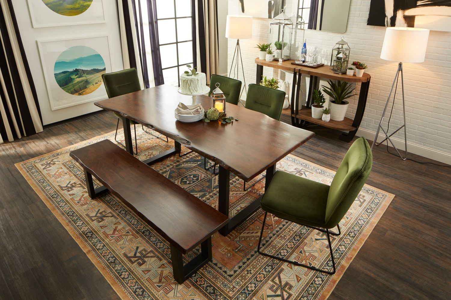 Portland Dining Table 4 Upholstered Side Chairs And Bench