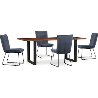 Portland Dining Table and 4 Upholstered Side Chairs - Slate
