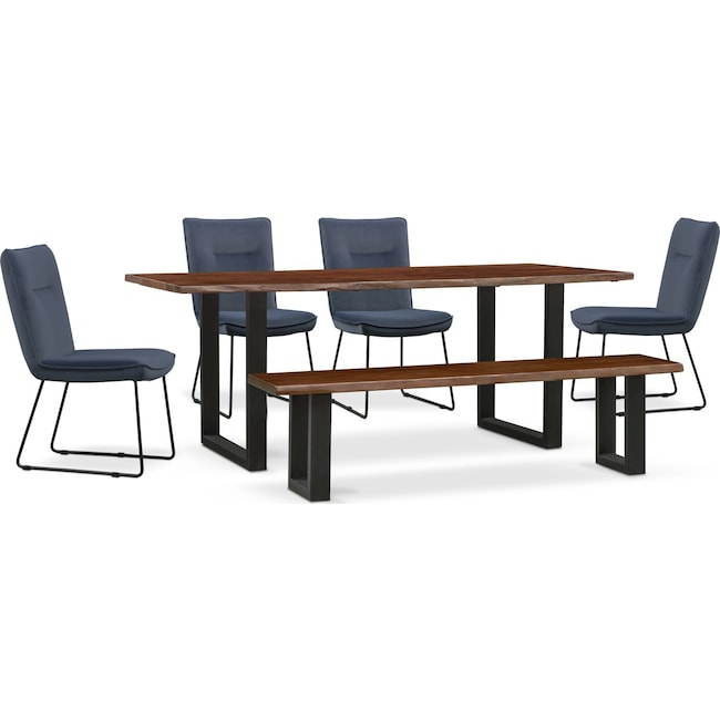 Dining Room Furniture - Portland Dining Table, 4 Upholstered Side Chairs and FREE Bench Set - Slate