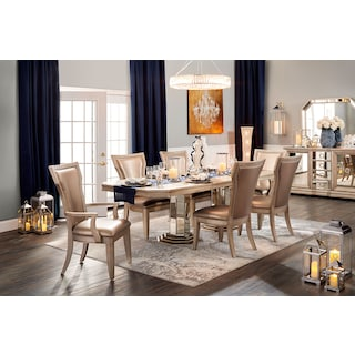 Angelina Double-Pedestal Table, Two Arm Chairs and 4 Side Chairs - Metallic