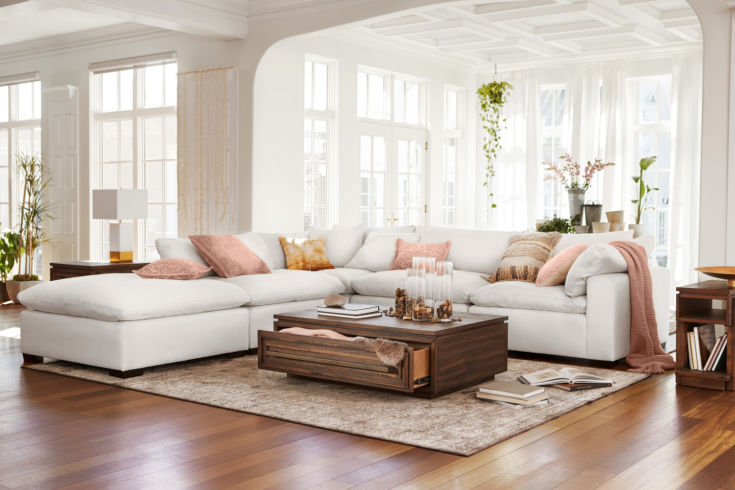 Plush 4 piece sectional and ottoman ivory by kroehler