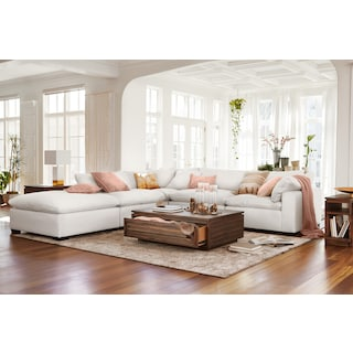 Plush 4-Piece Sectional and Ottoman - Ivory