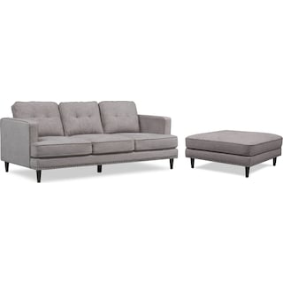 Parker Sofa with Ottoman - Gray