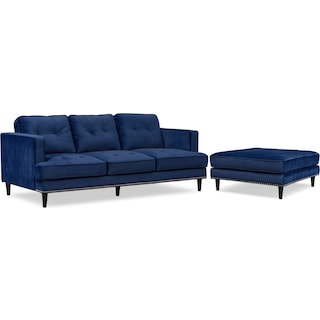 Parker Sofa with Ottoman - Indigo