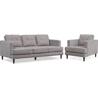 Parker Sofa and Chair Set - Gray