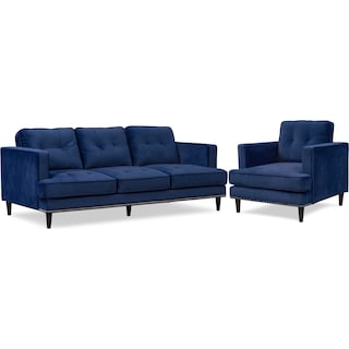 Parker Sofa and Chair Set - Indigo