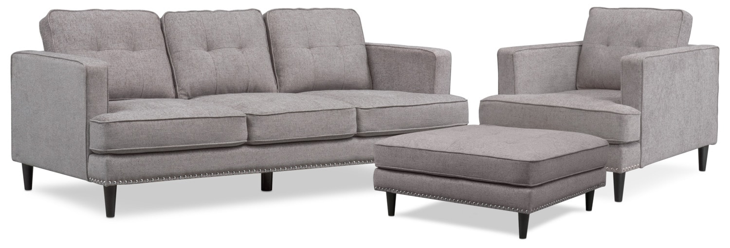 Living Room Furniture - Parker Sofa with Ottoman and Chair - Gray