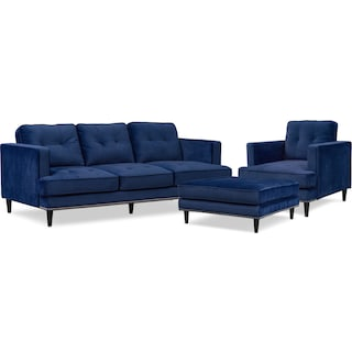 Parker Sofa with Ottoman and Chair - Indigo