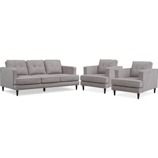 Parker Sofa and 2 Chairs Set - Gray
