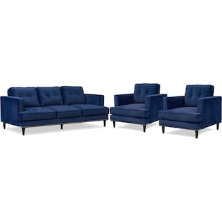 Parker Sofa and 2 Chairs - Indigo