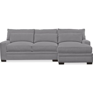 Winston Comfort 2-Piece Sectional with Right-Facing Chaise - Hugo Graphite