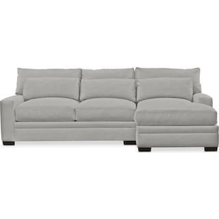 Winston Comfort 2 Piece Sectional with Right-Facing Chaise - Dudley Gray