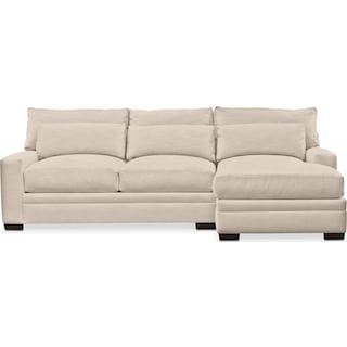 Winston Comfort 2-Piece Sectional with Right-Facing Chaise - Dudley Buff