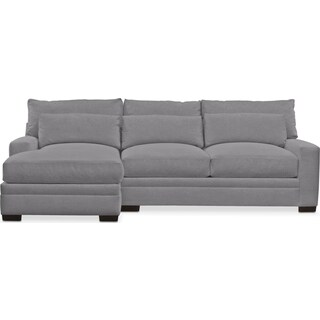 Winston Comfort 2 Piece Sectional with Left-Facing Chaise - Hugo Graphite