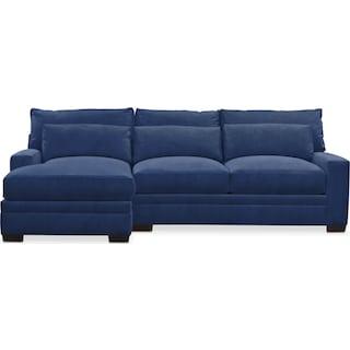 Winston Comfort 2 Piece Sectional with Left-Facing Chaise - Abington TW Indigo